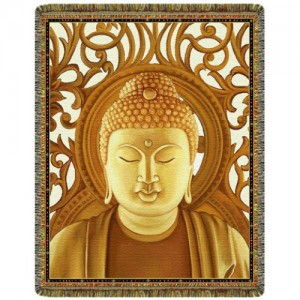 Gold Buddha Tapestry Throw